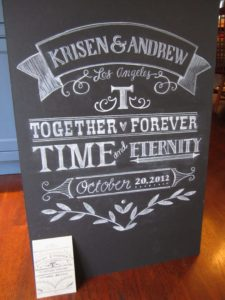 Chalk board for a wedding anniversary venue
